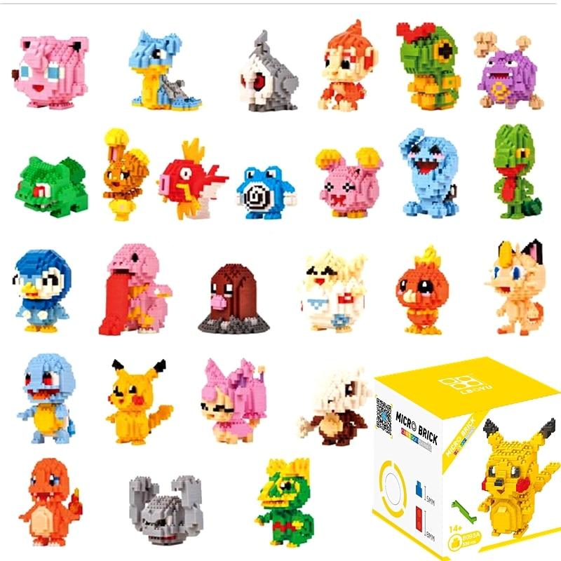 Anime Pocket Monster Pikachu Koffing Psyduck Poliwhirl Meowth Mudkip Piplup Diamond Mini Building Small Pokemon Blocks Toy