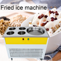 220V Commercial fried ice machine single pot + four refrigerated barrel fried ice machine stainless steel fried yogurt machine