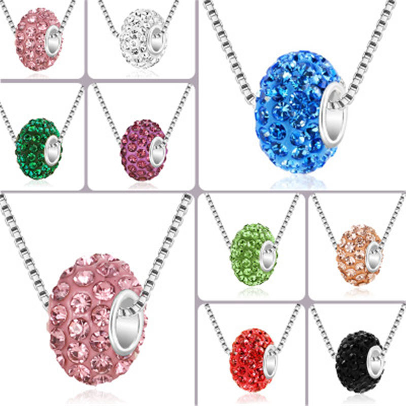 Trendy Necklace Rhinestone Round Beads Crystal Ball Pendant Chain Choker Necklaces Multicolor Necklace For Women Jewelry Gifts