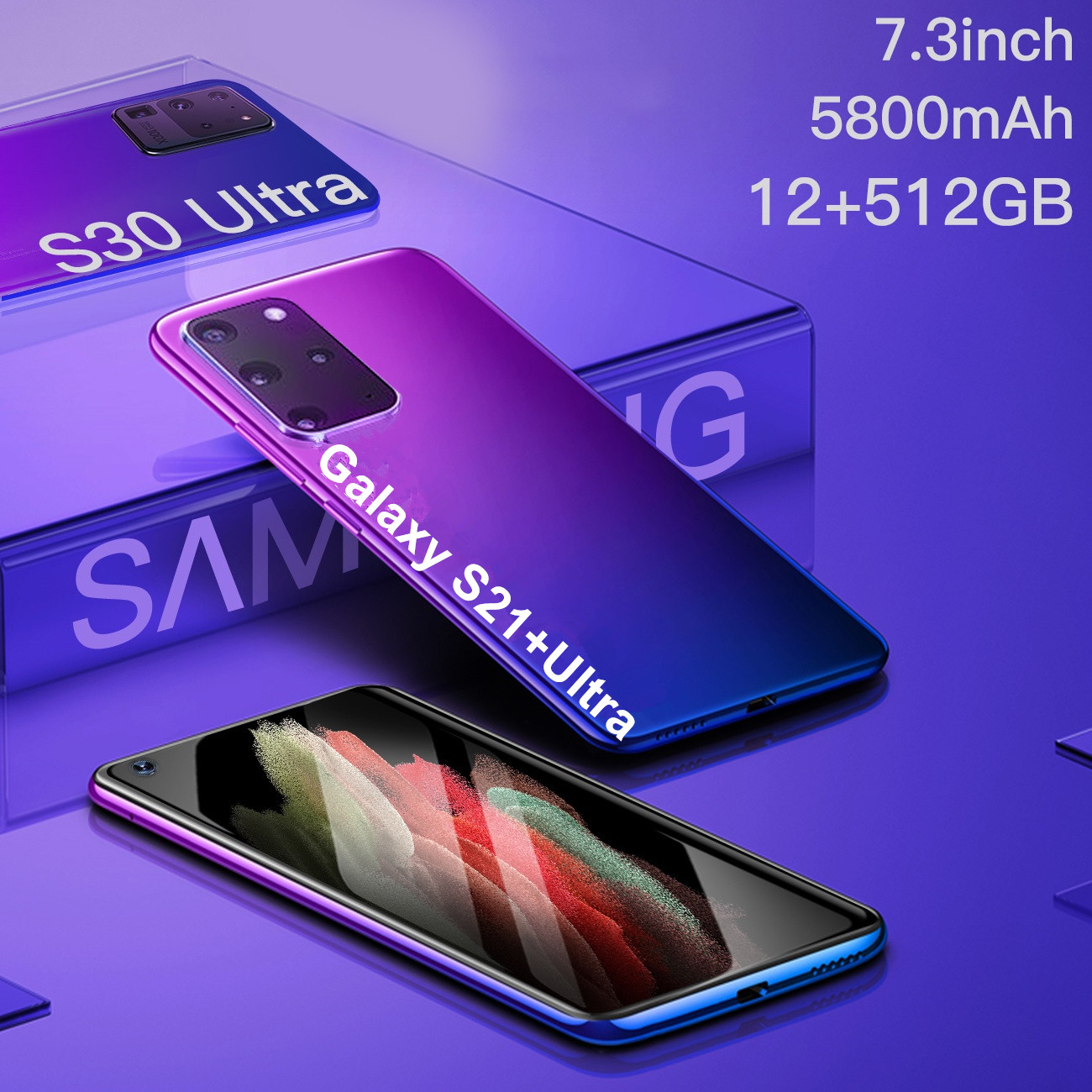 Galay S21+ Ultra 5G 7.3 Inch Smartphone 5000mAh Aandroid 10.0 Unlock Global Version 16MP+32MP 12GB+512GB Mobile Phone Telefon