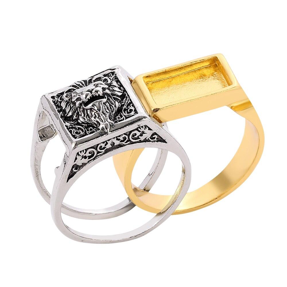 Einzigartige Punk Lion Geheimnis Fach Ring Zwei-farbe Königreich Lion Memorial Gothic Souvenir Geburtstag Jahrestag Geschenk Ring