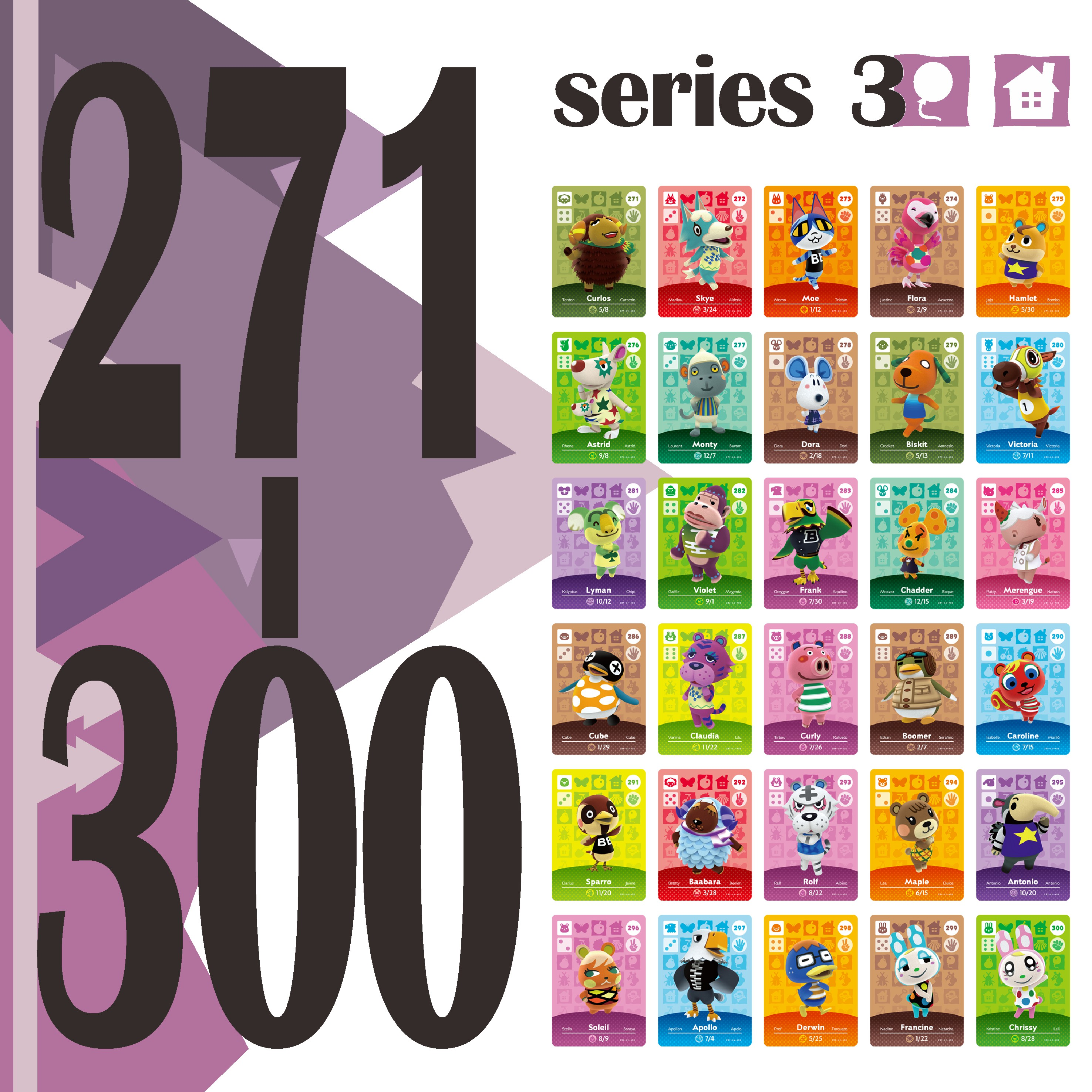 Animal Crossing Stickers Card Amiibo Card Work For NS Games Series 3 Happy Home Designer Guide Switch Rosie Rv (271 To 300)