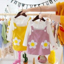 Bebê recém-nascido crianças meninas vestido conjunto de algodão bonito princesa manga longa camiseta + vestido 2 pçs roupas criança criança terno vestidos conjunto