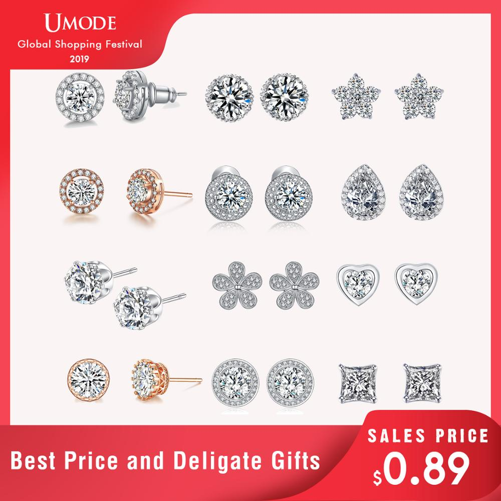 UMODE Top Quality Summer Jewelry Design Round Cut 6mm 0.75 Carat AAA+ CZ Diamond Stone Post Stud Earrings For Party UE0012
