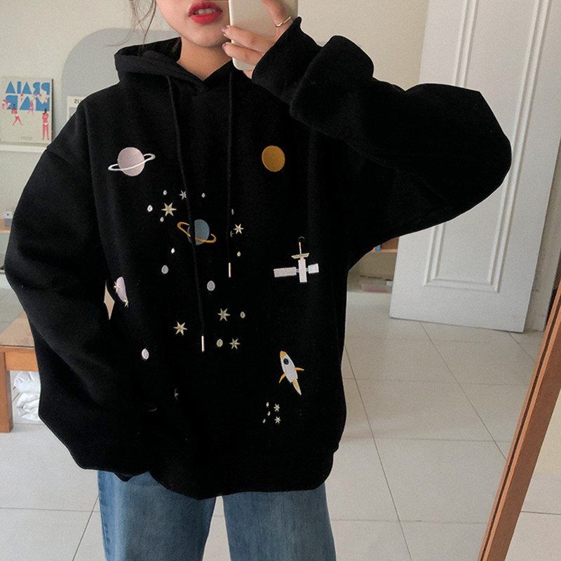 3 Colors 2019 Autumn And Winter Preppy Style Cartoon Print Thicking Hoodies Womens Sweatshirts And Pullovers  (F3827)