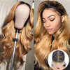 Beeos 1B/27 Ombre Honey Blonde Body Wave Deep Part Human Hair Wigs High Ratio 150% T Part Lace Wig Brazilian Remy Wig