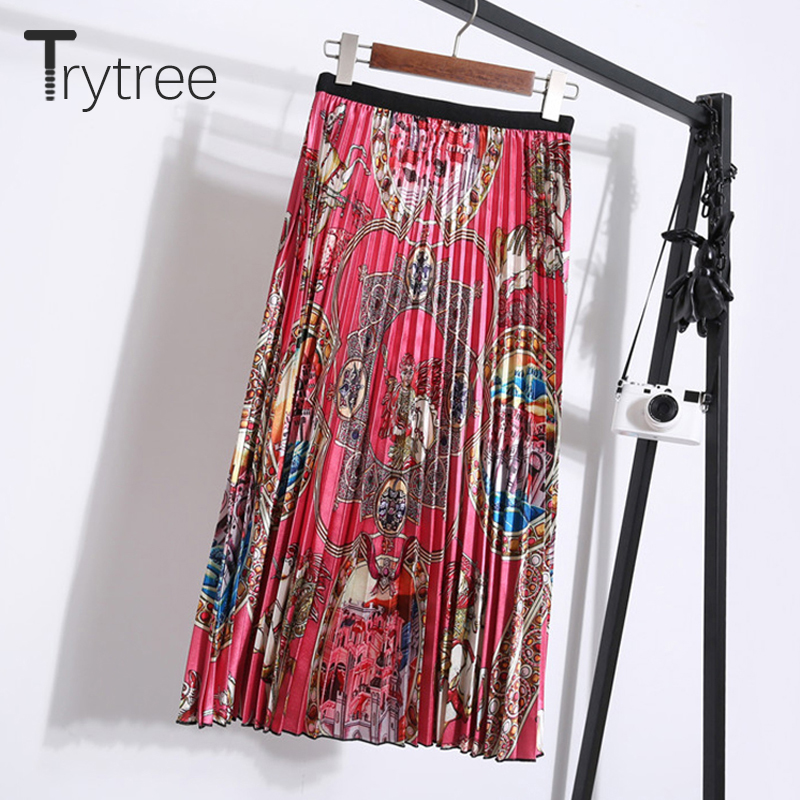 Trytree 2019 Autumn Winter Women Casual Print Skirt Red Pleated Skirt A-line Fashion Elastic Waist Mid-Calf Office Lady Skirt