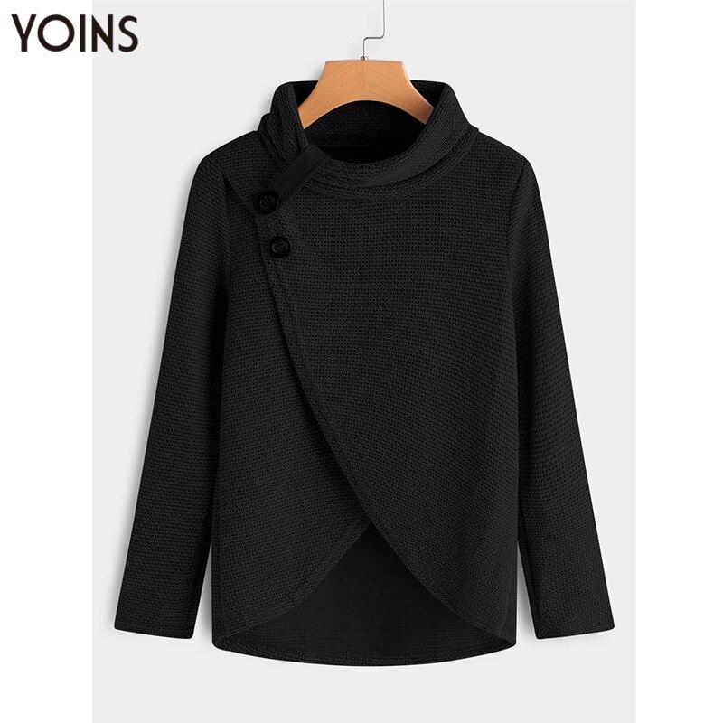YONIS 2019 Autumn Winter Spring Women Sweaters Crossed Front Turtleneck Long Sleeve Irregular Hem Button Jumper Pullover