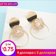 New Fashion Statement Metal Earrings Womens Personality Geometric Hollow Circle Imitation Pearl Girl Gift Jewelry