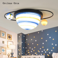 Amerikanischen Kreative planeten decke lampe junge schlafzimmer kinderzimmer lampe cartoon romantische universum sterne led decke lampe