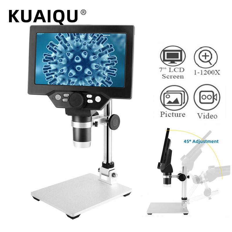 Digital Video Microscope Electronic 1200X 7 inch HD LCD Continuous Amplification Soldering Microscope Phone Repair MagnifierTooL