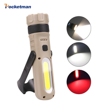 Multiple Function L2 COB LED Flashlight USB Rechargeable Torch Linterna Tail Magnetic Foldable Rotating Lamp Battery Indicator