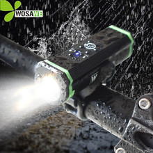 WOSAWE Waterproof Bike Light Set LED USB Rechargeable Rubber Mount Holder Power Indicator Cycling Bicycle Head Flashlight