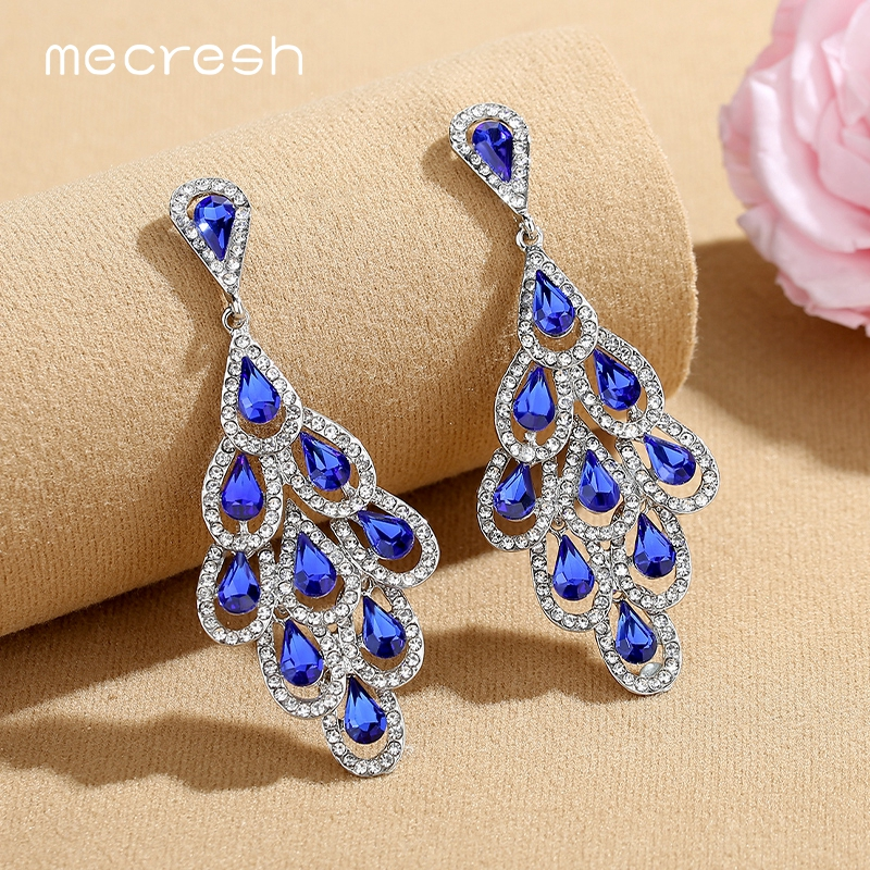 Mecresh Statement Colorful Crystal Women Large Drop Earrings 2019 Fashion European Multi layer Leaf Summer Big Earrings MEH1576 in Drop Earrings from Jewelry Accessories