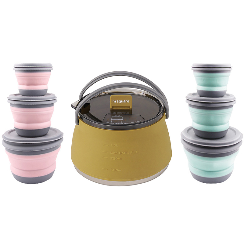 Silicone Folding Kettle Portable Field Camping Food Container Salad Dish Outdoor Camping Hiking Backpacking Pot Food Bowl