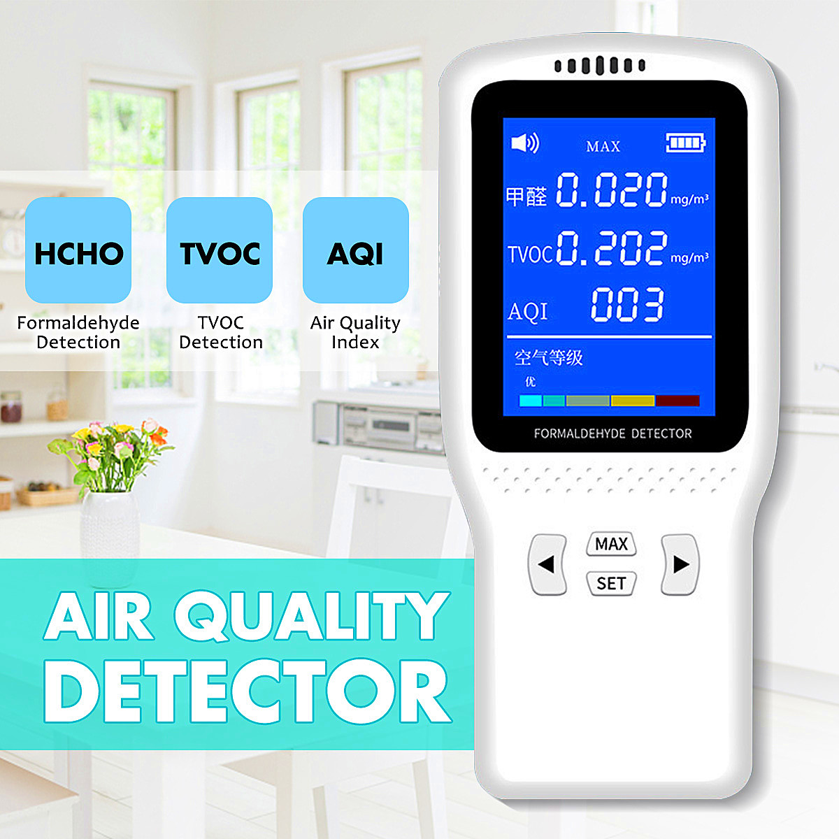 PM2.5 Monitor,Formaldehyde Detector Indoor Home Air Quality Tester HCHO Meter PM2.5 Monitor,Formaldehyde Tester