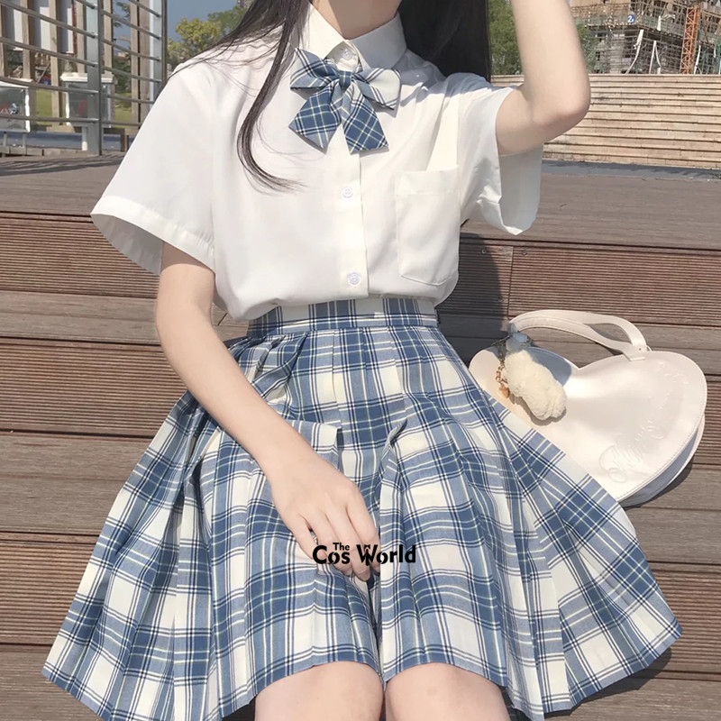 [S1] Girl's Summer High Waist Pleated Skirts Plaid Skirts Women Dress For JK School Uniform Students Cloths