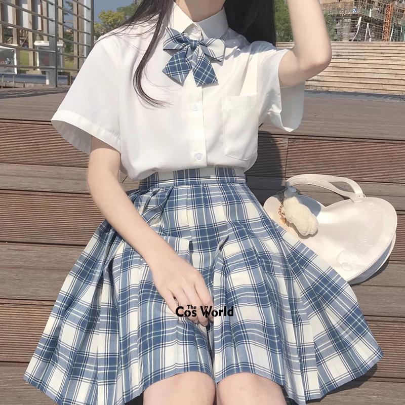 [S1] Girl's Summer High Waist Pleated Skirts Plaid Skirts Women Dress For JK School Uniform Students Cloths