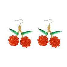 Korean super-fairy temperament lovely Cherry Earrings net red long personality Baitao fruit eardrops small fresh