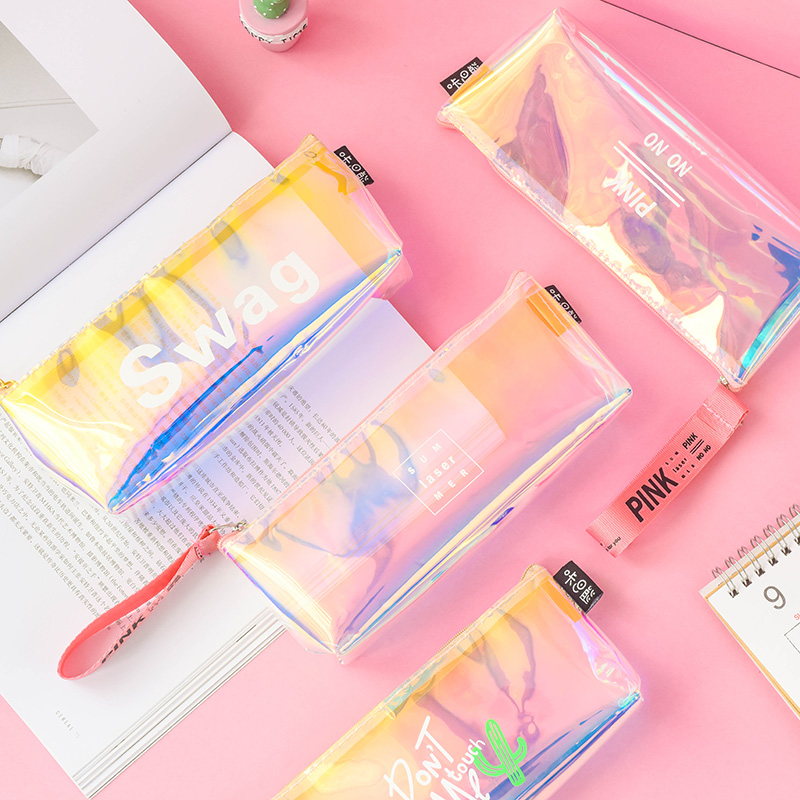 Kawaii Laser Pencil Cute Case Bag Large Capacity Box Pen holder School Supplies Stationery