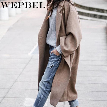 normov casual women woolen coats autumn winter turn down collar long sleeve button wide waisted coat loose solid coats WEPBEL Women's Casual Solid Color Woolen Coat Winter Long Sleeve Loose Turn-down Collar Single Button Warm Long Coat