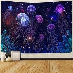 Морской гобелен, настенный яркий гобелен с морскими животными, Медузой, 95 х7, 3 см/150 Х100 см, для спальни, квартиры, общежития, гостиной