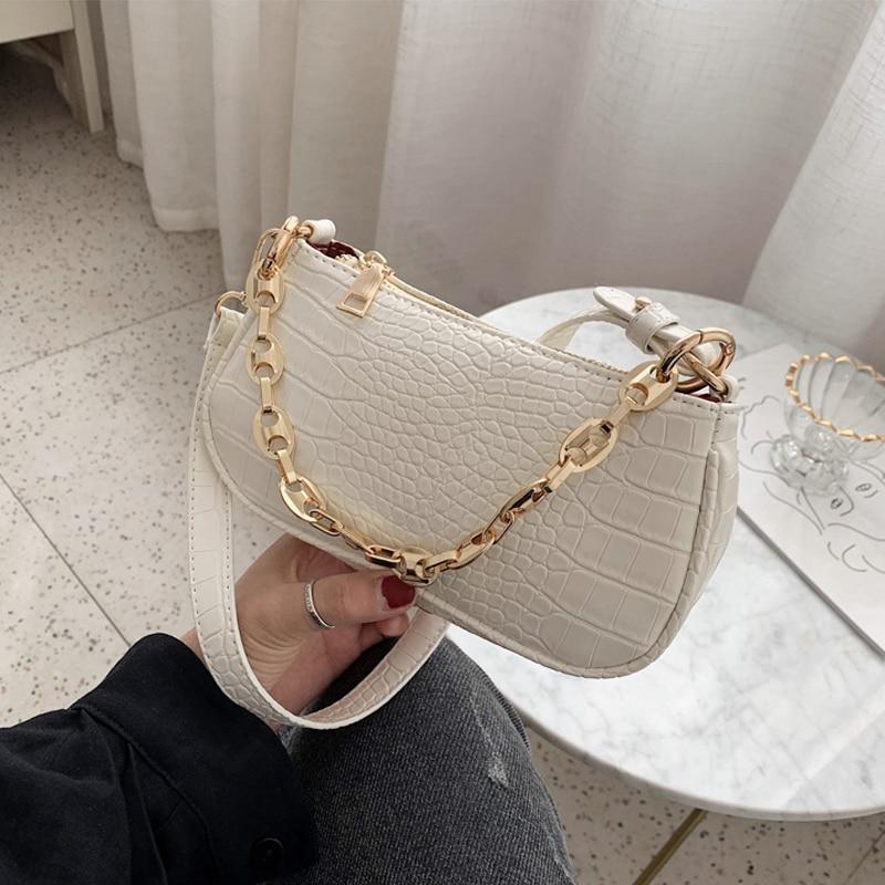 Moda çanta baguette me model krokodili çanta prej lëkure mini PU - Çanta dore - Foto 3