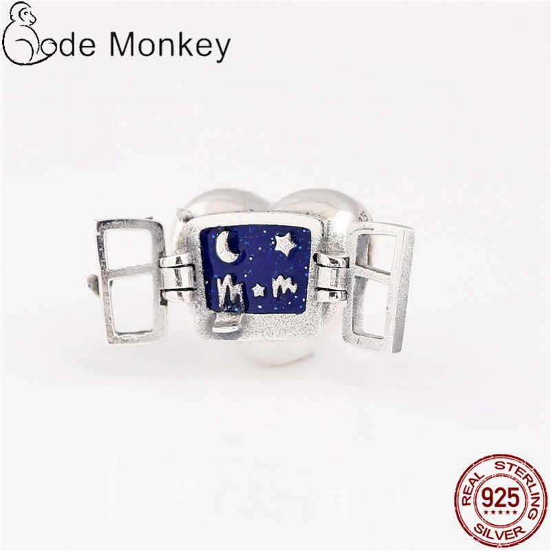 CodeMonkey 100% אמיתי 925 כסף סטרלינג אהבת לב ירח כוכב קסמי DIY תכשיטי ביצוע לנשים ביצוע אופנה מתנה CMS1511a