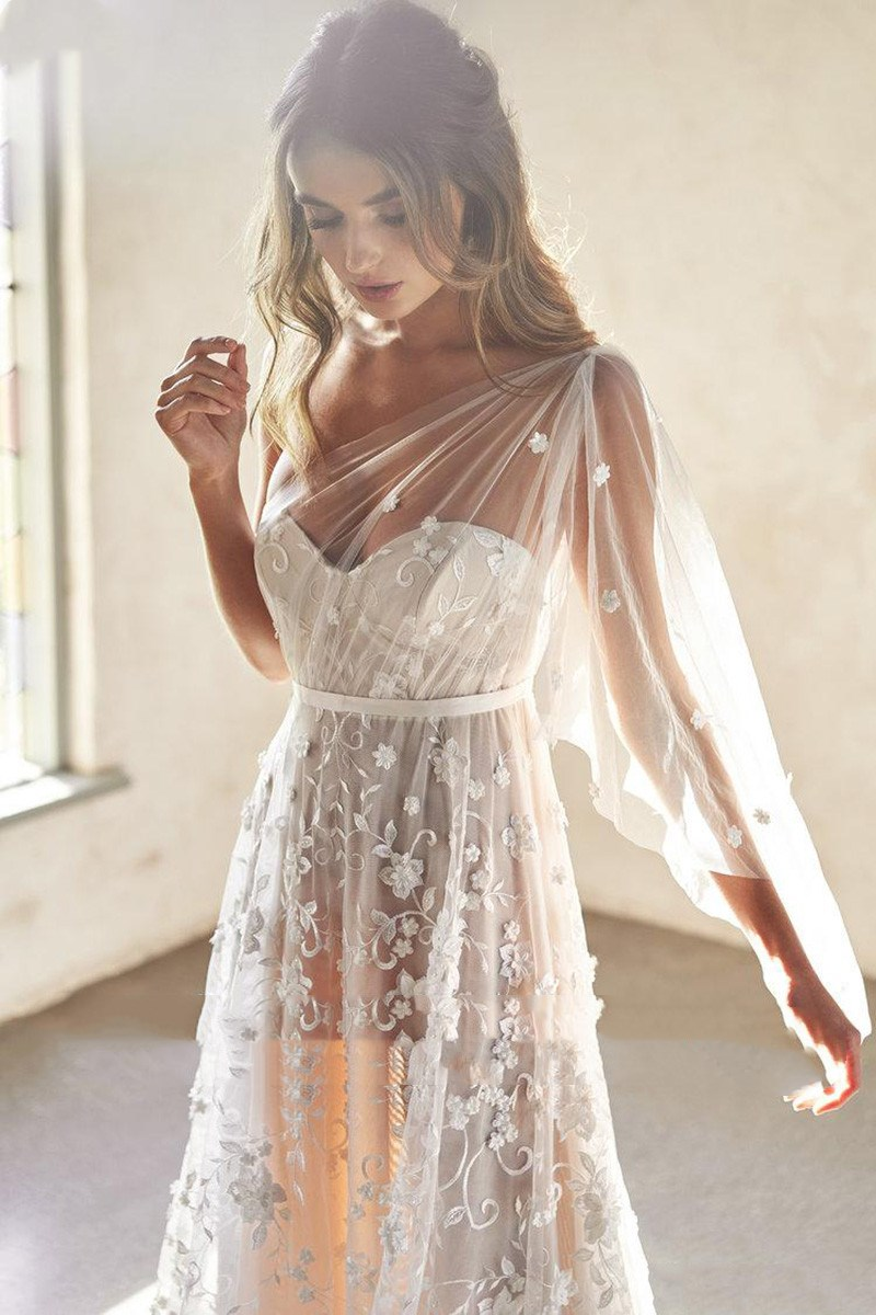 Beach Wedding Dresses A Line One Shoulder Sexy Lace 3D Flowers Wedding Gowns Vestidos De Novia Boho Bride Dresses