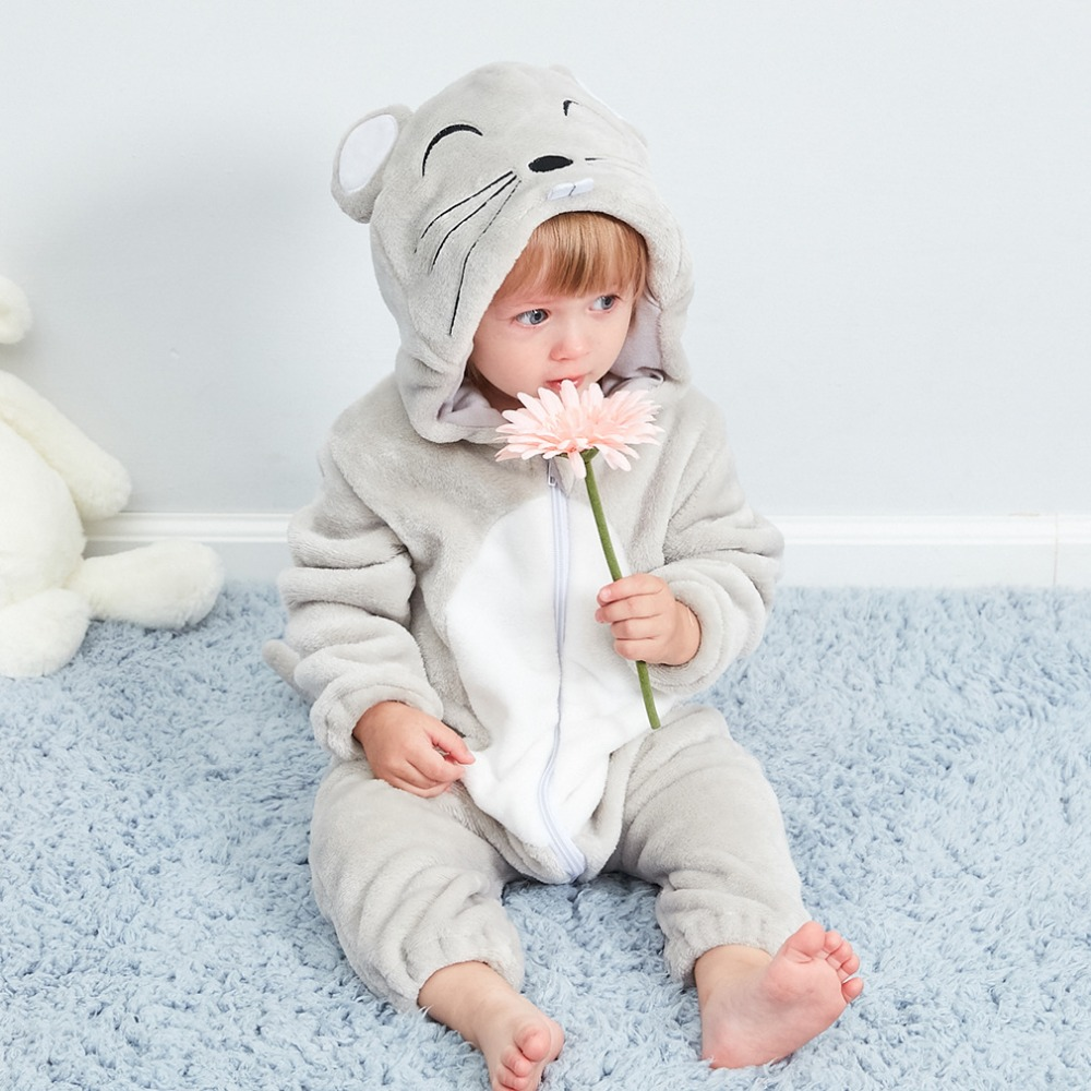 Newborn Cartoon Rompers Infant Cosplay Panda Mouse Sleepwear Clothes Hooded Pyjamas Baby Girls Jumpsuit Stitch Toddler Costumes
