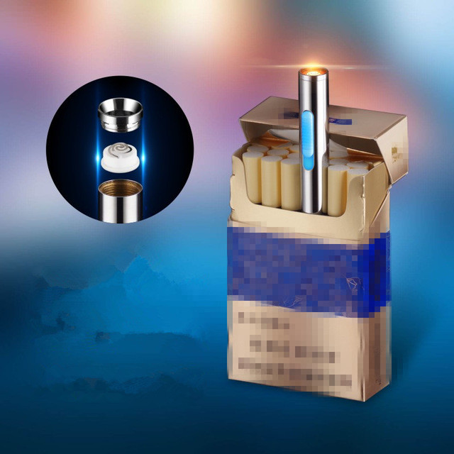 Mini Thin USB Charge Lighter Rechargeable Electronic Lighter Portable Cigarette Lighter Encendedor Cigar Fire Smoker With Case