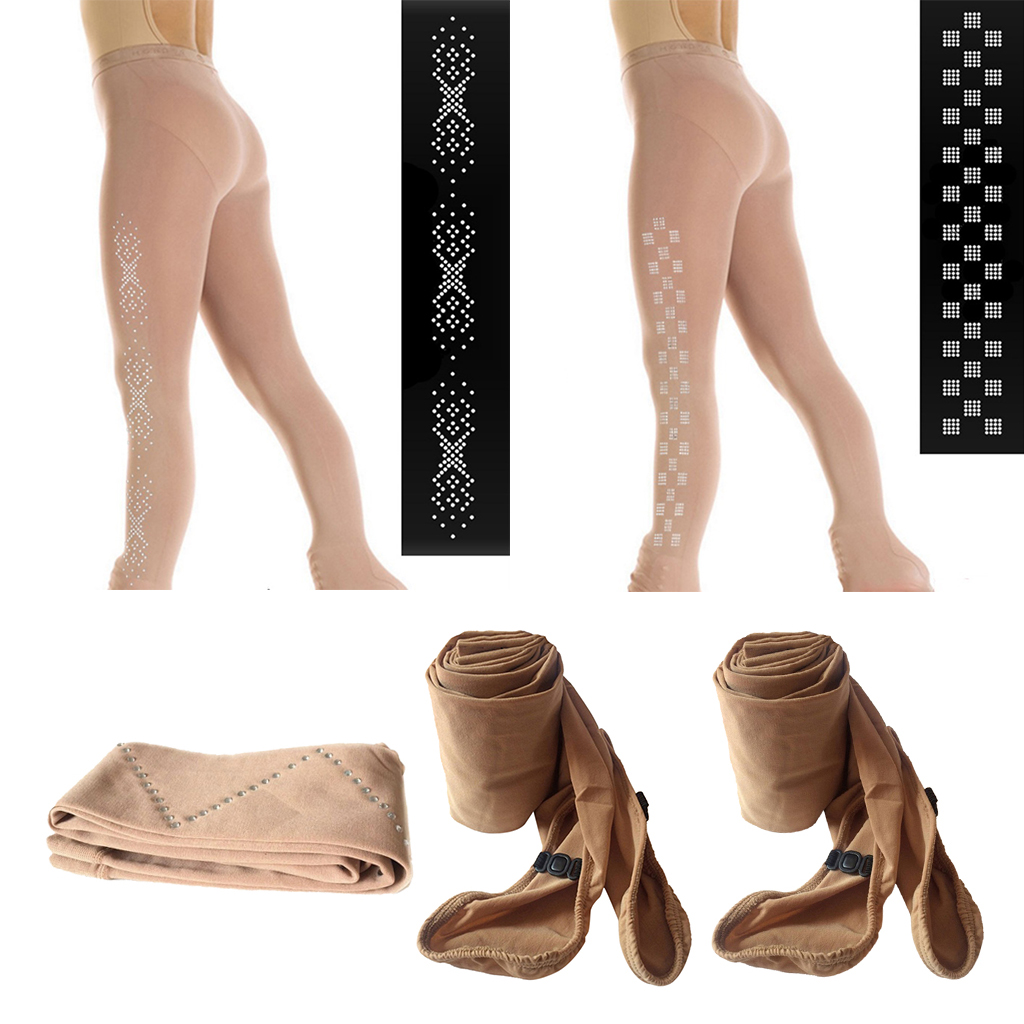 Child Skating Tight Footed Tights Long Socks Stockings With Rhinestones For Girls - Ultra Soft, Stretch & Warm - Choose Sizes