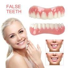 Silicone superior/inferior dentes falsos perfeito risada folheados dentaduras colar ferramentas de higiene oral falsos dentes cobre simulação chaves