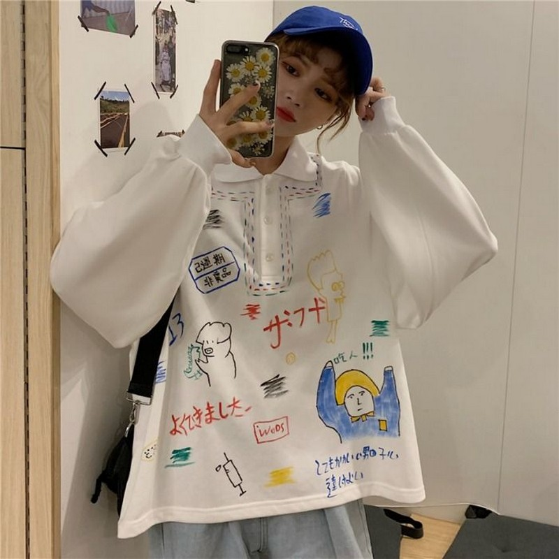 Sweatshirts Girls Doodling Korean Print Harajuku POLO Collar Loose Student Long Sleeve Sweatshirt Women Tops Pullover Jacket