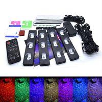 1Pcs Car LED RGB Ambient Interior Light Lamp Strip Decorative Atmosphere Lights Music Voice Control USB LED Light