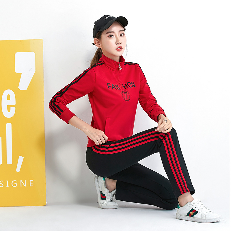 Sports Casual WOMEN'S Suit Spring And Autumn Slim Fit Stand Collar Pullover Hoody Two-Piece Set Running Fitness Team Sports Clot