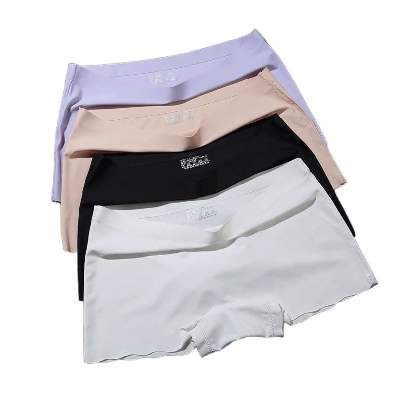 Women Safety Short Pants Seamless Ice Silk Boxer Panties Women Flat Tiered Short Pants Underwear Plus Size Boyshort Knickers