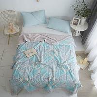 Svetanya colcha de verano delgada lanza manta impreso edredón tamaño doble reina rey