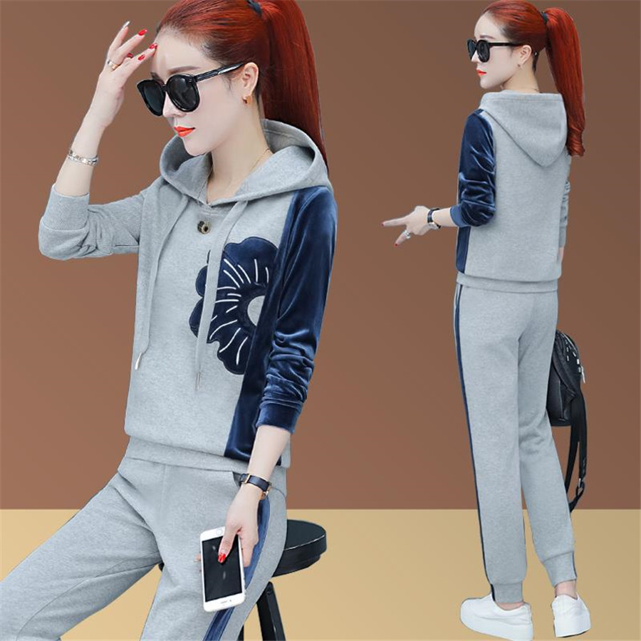 Leisure Women Sports Suit Spring Autumn New 2 Piece Set Women's Clothing Sets Large Size Ladies Tracksuits Tops And Pants
