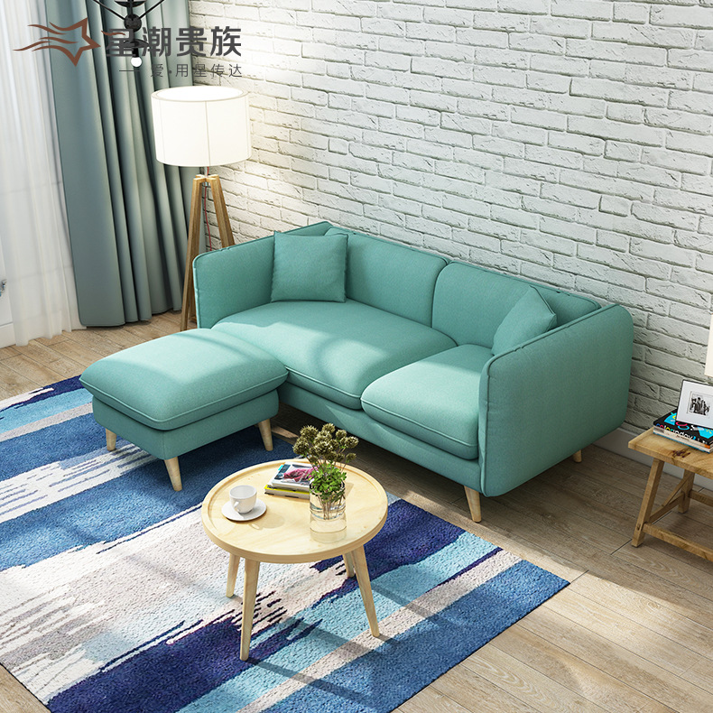 US $250.0 |Scandinavia Fabric 2.1m Small Apartment Sofa Apartment Living  Room Furniture Two Seater Three Seater Solid Wood Sponge Sofa Bed-in Living  ...