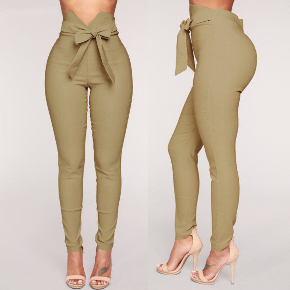 Goocheer Fashion Women High Waist Casual Pants Fashion Bowknot Long Slim Skinny Pant Bandage Elastic Pencil Trousers With Sashes