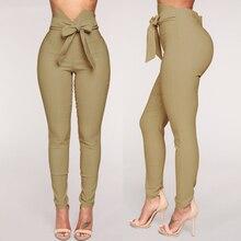 Goocheer Fashion Women High Waist Casual Pants Bowknot Long Slim Skinny Pant Bandage Elastic Pencil Trousers With Sashes