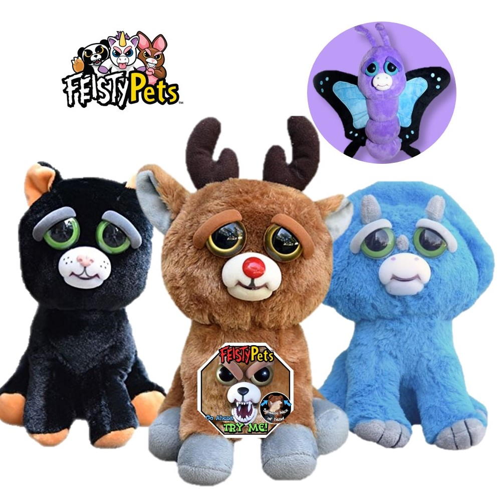 Feisty pets funny face changing unicorn soft toys for children turtle stuffed plush koala angry animal adorable doll butterfly