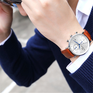 Image 5 - 2019 New Arrival Quartz Watches Men Genuine Leather Strap Chronograph Calendar Luxury Casual Vintage Watch X2 066G