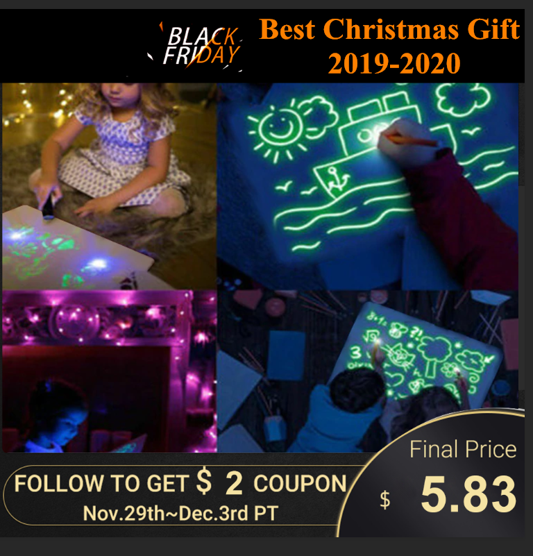 Magic Of Luminous Drawing Board Exercise Unlimited Use 3D LED Painting Best Christmas Gift For Child Party Fluorescent Board
