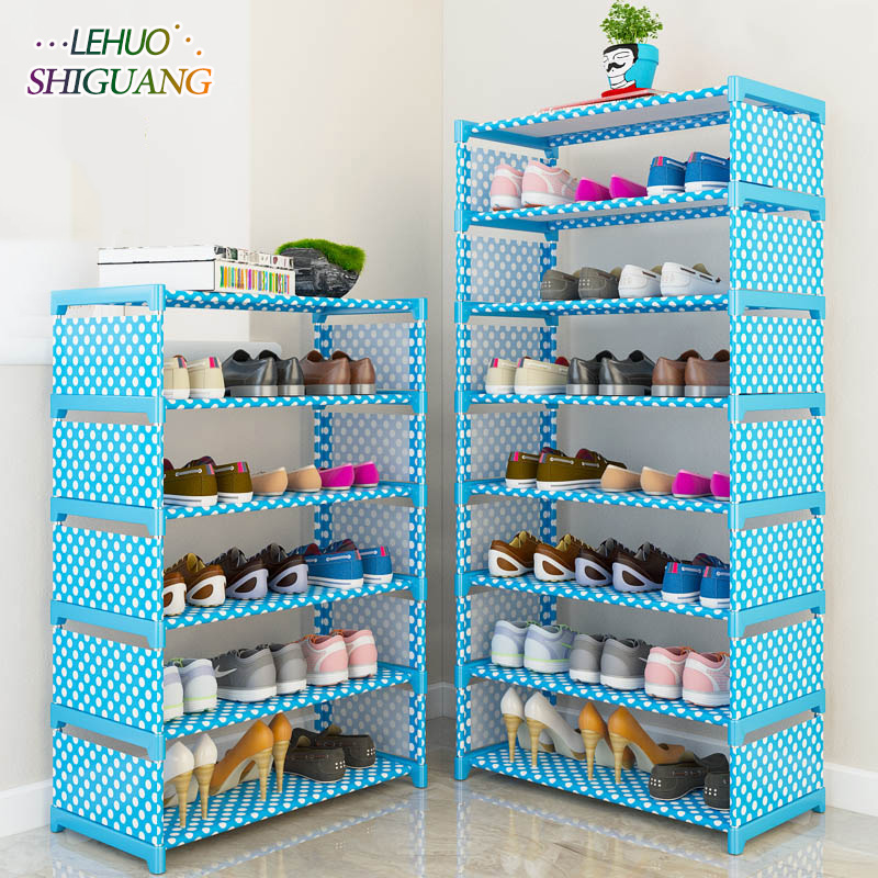 Simple Multi Layer Shoe Rack Nonwovens Easy Assemble Storage Shelf Shoe Cabinet Fashion Bookshelf Living Room Furniture