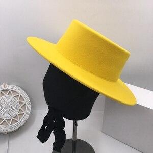 Image 3 - About flat  eaves wool hat light show white female homburg contracted joker hat lemon elegant hat Fedoras Panama
