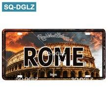 [SQ-DGLZ] ROME City Capital matrícula de estaño Vintage Barra de señal de Metal decoración de la pared decoración del hogar pintura placas de arte Poster