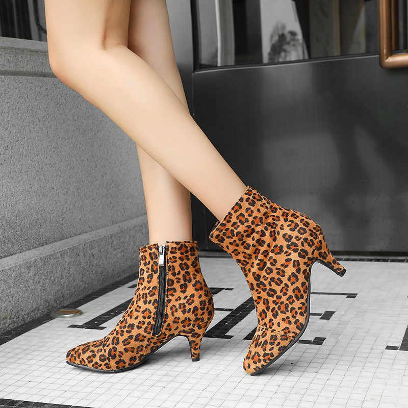 MoonMeek 2020 yeni yarım çizmeler kadınlar için sivri burun zip akın bayanlar balo çizmeler yüksek topuklu sonbahar kış çizmeler artı boyutu 34-43