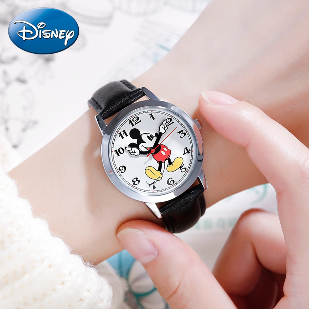 Original Disney Women Quartz Round Watch Authentic Mickey Mouse Cutie Love Fashion Clock Ladies Leather Band Watches Best Gift-in Women's Watches from Watches
